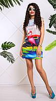 Яркое Платье Туника с Фламинго XS-XL