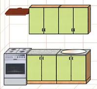 """Кухня """"Оптима"""" длина 1,6 м - вариант №1"""