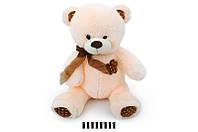Мягкая игрушка Мишка с цветочком музыкальный 1406В\70 сидячий 70 см, молочный