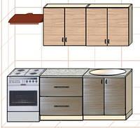 """Кухня """"Оптима"""" длина 1,6 м - вариант №2"""