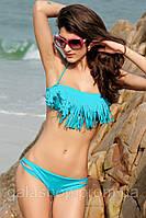 """Яркий стильный раздельный купальник """"Бахрома"""". Голубой купальник с бахромой. Любой размер по Вашим меркам."""
