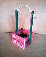 Ящик деревянный с ручкой под цветы (кашпо), розовый, 16,5х15х27 см