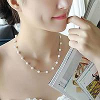 Ожерелье из жемчуга ювелирная бижутерия покрытие серебро 324