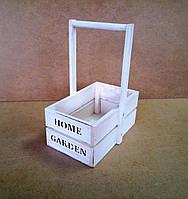 Ящик деревянный с ручкой под цветы (кашпо), белый, 13,5х20х23 см, фото 1