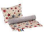 Ткань с серыми и красными звёздами на бежевом фоне № 496а, фото 2