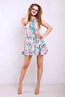 Легкое Платье Трапеция с Веселым Принтом Розово-Мятное XS-XL