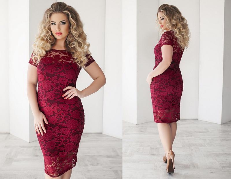 Красивое летнее облегающее женское гипюровое платье средней длины (миди) с коротким рукавом +цвета