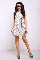 Легкое Платье Трапеция с Веселым Принтом Желто-Серое XS-XL