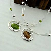 Ожерелье ювелирная бижутерия покрытие серебро 3520
