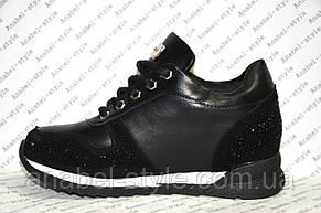 Кроссовки женские модные черного цвета со звездочками и стразами, фото 2