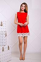 Красное Яркое Платье с Набивным Кружевом XS-XL