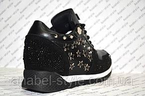 Кроссовки женские модные черного цвета со звездочками и стразами, фото 3