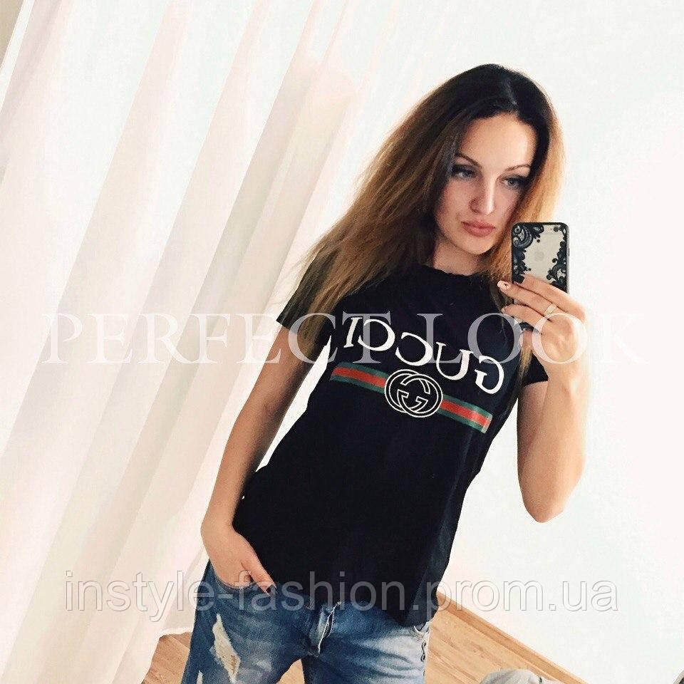 Женская футболка Гуччи Gucci ткань вискоза черная