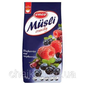 Мюсли Emco Musli crunhy Blueberries and Raspberries  750 г ( Чехия )