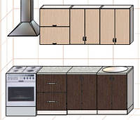 """Кухня """"Оптима"""" длина 1,8 м - вариант №3"""