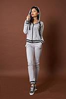 Женский спортивный трикотажный костюм цвета серый меланж