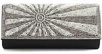 Стильный элитный гламурный небольшой блестящий в стразах женский клатч для выпускного art. 1314-701С черный