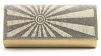 Стильный элитный гламурный небольшой блестящий в стразах женский клатч для выпускного art. 1314-701С золото