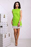 Зеленое Яркое Платье с Набивным Кружевом XS-XL