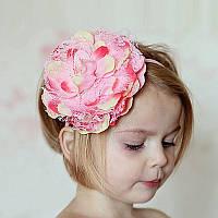 Детская повязка для волос ПИОН розовая Тиара Виктория