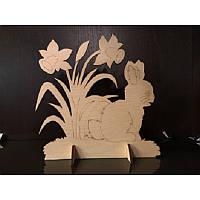 """Сборная деревянная модель с красками """"Зайчик на поляне"""" 90014 Вудмастер"""