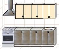 """Кухня """"Оптима"""" длина 2,0 м - вариант №1"""