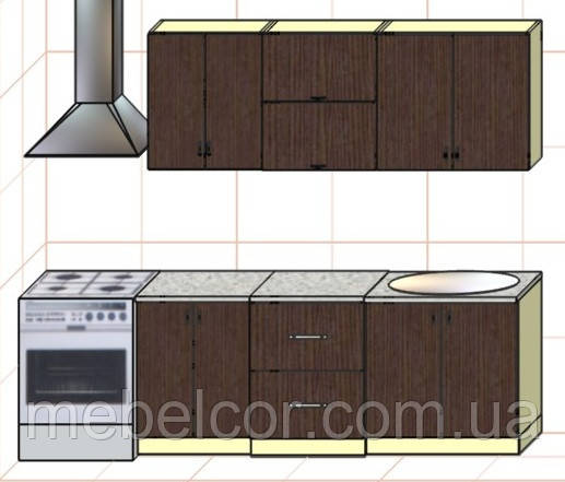 """Кухня """"Оптима"""" длина 2,0 м - вариант №3"""