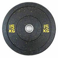 Бамперный диск для штанги 15кг Stein Hi-Temp с цветными вкрапления для дома и спортзала, Киев