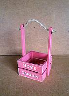 Ящик деревянный с ручкой под цветы (кашпо), розовый, 15,5х14х25 см
