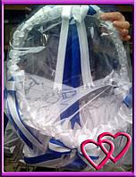 Свадебные корзинки для лепестков 4 банта Синий