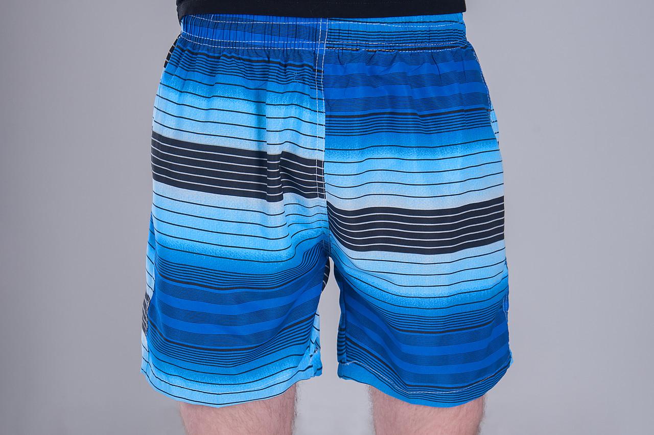 Чоловічі шорти в лінію (плащівка), синього кольору