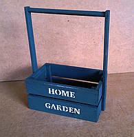 Ящик деревянный с ручкой под цветы (кашпо), графитовый, 22х12х23 см