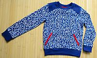 Футболка-реглан с длинным рукавом для мальчика синего цвета с буквенным узором