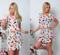 Молодежное легкое летнее платье с принтом мороженое