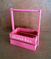 Ящик деревянный с ручкой под цветы (кашпо), розовый, 22х12х23 см