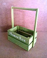 Ящик деревянный с ручкой под цветы (кашпо), салатовый, 22х12х23 см, фото 1