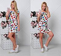 Летнее молодежное платье с принтом пончик