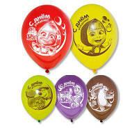 """Воздушные шары С Днём Рождения Маша и Медведь 12"""" (30 см), 50 штук в упаковке Belbal Бельгия"""