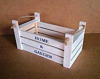 Ящик деревянный с ручками под цветы (кашпо), белый, 30х16,5х15,5 см, фото 1