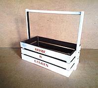Ящик деревянный с ручкой под цветы (кашпо), белый с коричневым, 31,5х15х28 см