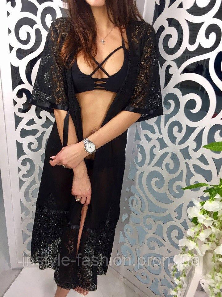 Женская пляжная туника с кружевом ткань шифон черная, фото 1