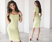 Стильное модное облегающее трикотажное женское платье миди(средней длины) с красивым декольте  +цвета