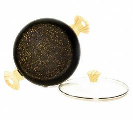 """Сотейник с крышкой """"Black Cosmic"""" 26х6.5см/2.85л алюминиевый с каменным антипригарным покрытием Fissman"""