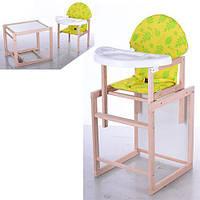 Стульчик для кормления + столик со стульчиком 2 в 1 VIVAST, желтый, дерево