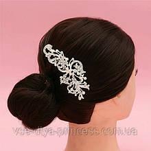 """Гребінь """"Квітка"""" з перлами під срібло у зачіску"""