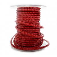 Квадратный плетеный кожаный шнурок   4,0 х 4,0 мм Цвет: Красный (Австрия)