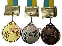Медаль спортивная/для каратэ: 1, 2, 3 место, Ø 4.5 см, с украинской ленточкой