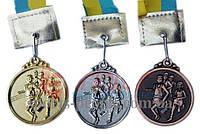 Медаль спортивная/для легкой атлетики (бега): 1, 2, 3 место, Ø 5 см, с украинской ленточкой