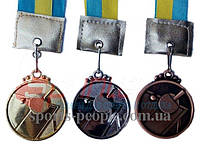 Медаль спортивная/для настольного тенниса (пинг-понга): 1, 2, 3 место, Ø 4.5 см, с укр. ленточкой