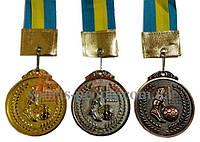 Медаль спортивная/для футбола: 1, 2, 3 место, Ø 4.5 см, с украинской ленточкой